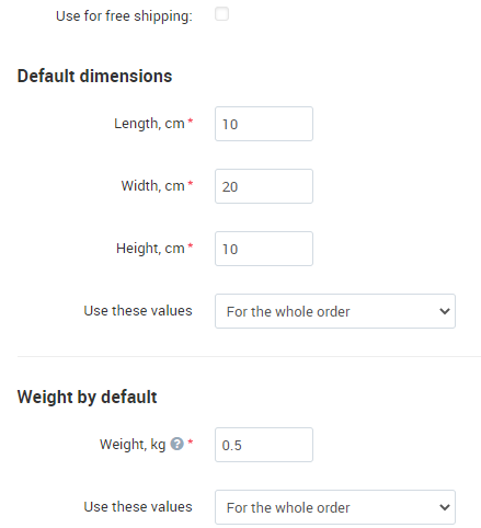 Default product weight and package dimensions